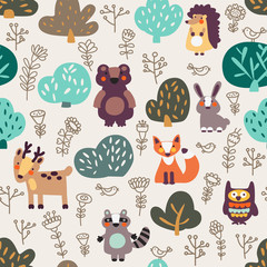Funny animal seamless pattern with floral background made of wild animals in forest: bear, deer, hedgehog, raccoon, fox, rabbit and owl