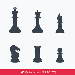 Chess Pieces (Chessman) Icons / Vectors Set