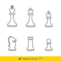 Chess Pieces (Chessman) Icons / Vectors Set - In Line / Stroke Design