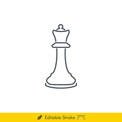 Queen Icon / Vector - In Line / Stroke Design (Chess Pieces/Chessman)