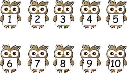cartoon animal hold numbers