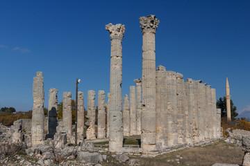 Ruins of the ancient town Diokaisareia in Uzuncaburc village, Turkey