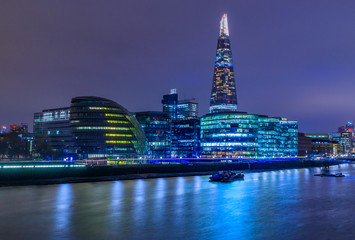 London skyline at twilight with the Shard