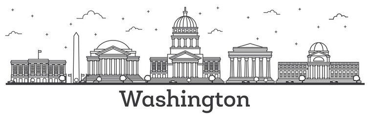 Outline Washington DC USA City Skyline with Modern Buildings Isolated on White.