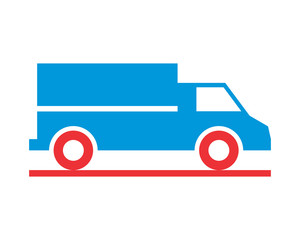 blue boxcar transportation vehicle ride drive image vector icon