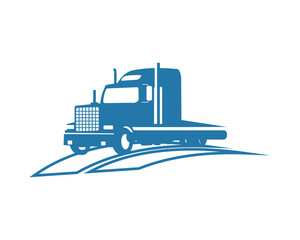 blue truck transportation vehicle ride drive image vector icon