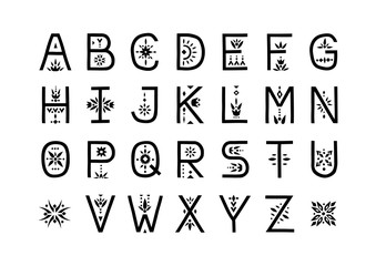 Vector display alphabet. Capital letters decorated with flowal patterns.