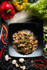 chicken mushroom vegetable salad recipe. meal food ingredients and cooking process. asian cuisine