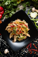 chicken vegetable salad recipe. meal food ingredients and cooking process. asian cuisine