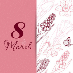 Background for spring season with flowers. Vector illustration for your design