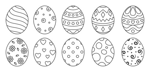 Eggs set black style ioslated on white background with different pattern for greeting card