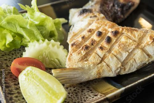 Grilled Hamachi Kama Fish On Plate Japanese Food Stock Photo And
