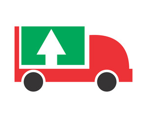 pick up boxcar transportation vehicle ride drive image vector icon