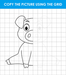 Cute little pig sitting. Grid copy game, complete the picture educational children game