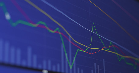 Stock market graph with blue background