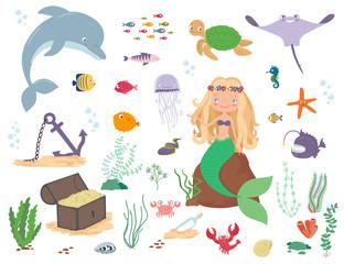 Mermaid, sea animals and seaweed. Cartoon vector illustration