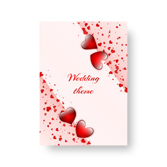 Romantic invitation template for St. Valentine's Day or birthday party. Vector illustration