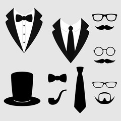 Men's jackets. Tuxedo with mustaches, glasses, beard, pipe and top hat. Weddind suits with bow tie and with necktie. Vector icon.