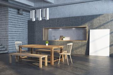 Gray brick modern dining room, poster