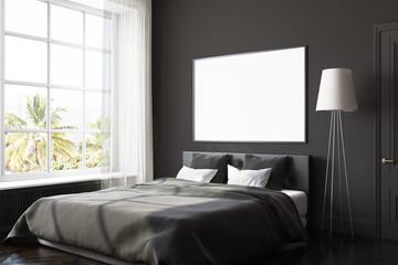 Black bedroom corner, poster