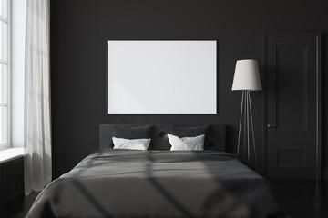 Black bedroom interior, poster