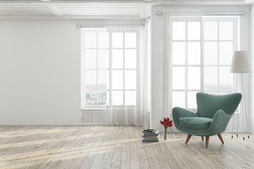 White living room with a green armchair