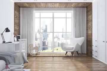 Loft white and wooden nursery interior