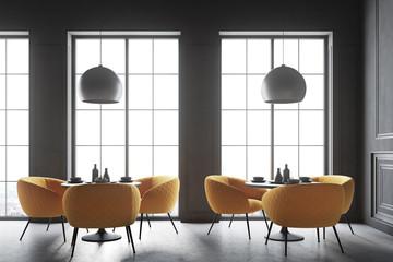 Black loft cafe interior