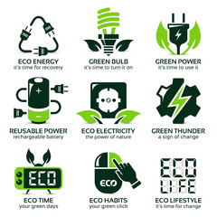 flat icon set for green eco electricity, the drop shadow contains transparencies, eps10