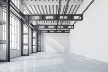 Blank wall factory office interior, front view