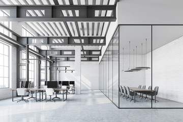 White brick loft office, meeting room
