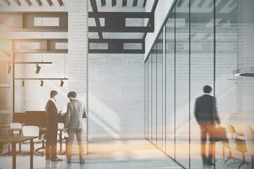 White brick loft office, column toned