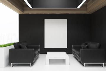 Black office waiting room, poster
