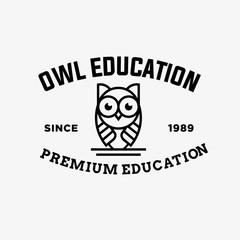 owl - vector logo/icon illustration label