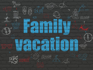 Tourism concept: Painted blue text Family Vacation on Black Brick wall background with Scheme Of Hand Drawn Vacation Icons