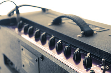 Vintage guitar amplifier knobs