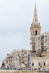 Wide view of St Paul's Anglican Cathedral, Valletta, Malta