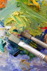 Vibrant multi-coloured artists oil paint palette