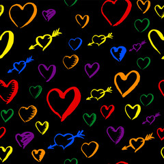 Gay pride rainbow colored pattern with hearts