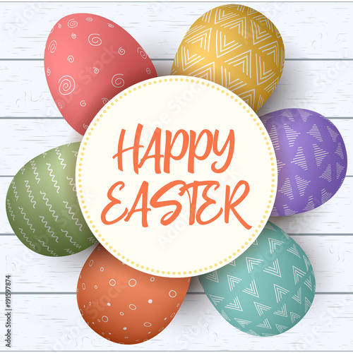 Happy Easter Festive Eggs In Circle On Shabby Wooden Background Colorful With