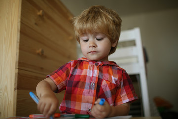 Painter child play coloring pencil.