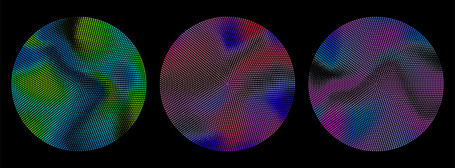 Abstract radial gradient dots pattern. Design elements. Vibrant color vector illustration.