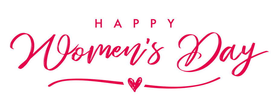 Happy Womans Day March 8 elegant calligraphy banner. Lettering invitations for the International Women's Day, 8 March with text, line and heart