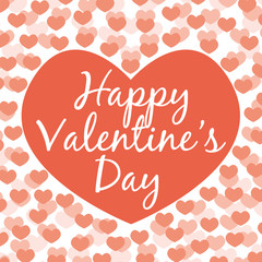 Happy Valentine's day. Vector greeting card. Red tones.