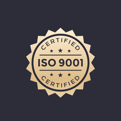 ISO 9001 badge, gold label