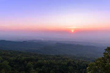 sunset at Phu Hin Rong Kla National Park