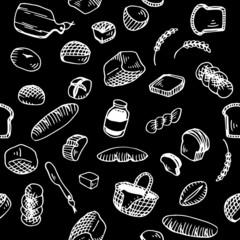 Bread Illustration Pattern Black