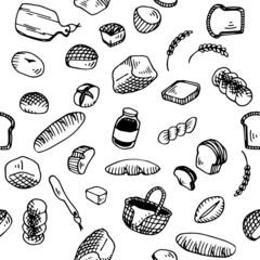 Bread Illustration Pattern White