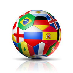 Football soccer ball with team national flags on white background