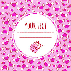 Romantic love background with cute winged hearts and rose. Valentine's Day greeting card.